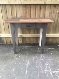 Vintage industrial metal plank top kitchen table work table butchers block