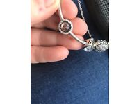 Genuine pandora charms and safety chain for sale