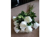 Faux flowers 10x artificial white roses, 1 large rose and 2 white peonies