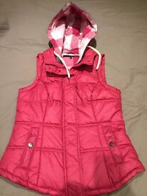 NEXT Women's Body Warmer Pink - Women's Raspberry Gilet / Hoodie, Size 10