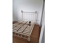 Next Leamington double Cream And Brass sprung slat Bedstead
