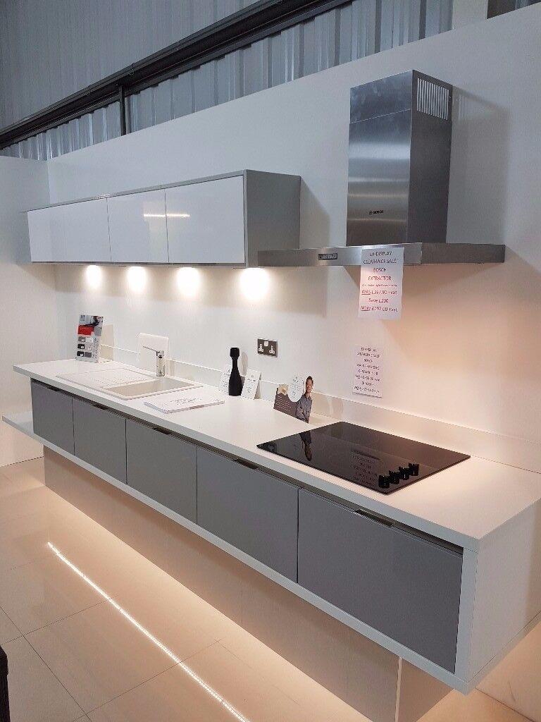 Ex-Display Sheraton In-Line Gloss Grey Kitchen