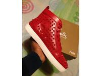 Louboutin Men's red studded leather Hi tops / Sneakers Loubs