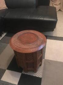 "Indian handcrafted 15"" small table with brass and copper inlays"
