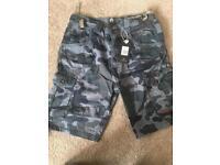Firetrap navy camo shorts