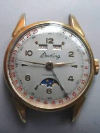RARE MENS 1950S BREITLING TRIPLE DATE MOONPHASE WATCH FOR REPAIR