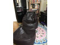 Bean bag and stool, chocolate faux leather