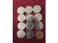 Various Rare 50p coins . Also a 2p coin