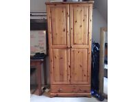 SOLID PINE DOUBLE WARDROBE IN VERY GOOD USED CONDITION FREE LOCAL DELIVERY 07486933766