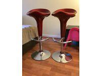 Red retro gas powered stools