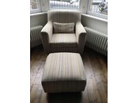 Set of 2 Armchairs and footstool