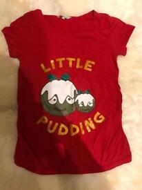 Maternity red Christmas little pudding top