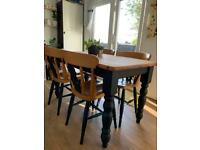 Farmhouse Solid Pine Dining table and 4 chairs