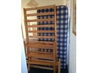 SINGLE 3' PINE BED AND SPRUNG MATTRESS
