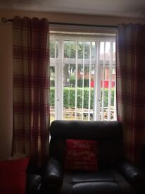 2 pairs of cream red check curtains cushion covers lamp 2 vase all red