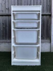 White Ikea Trofast storage unit and boxes