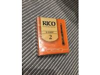 Rico Bb Clarinet reeds, strength 2, unopened box of 10