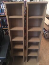 Two free standing shelf units for CDs holds 96 CDs each