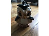 Graduation Owl Cookie Jar/Ceramic Container