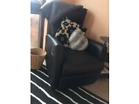 FREE to collect - 2 x 2 Seater Black Leather Sofas and 1x small black recliner chair