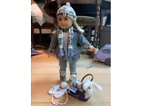 2 American Girl Dolls, clothes, 2 carry bags, 2 dogs w trolleys and twin girl and boy