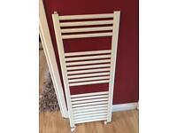 White heated towel radiator