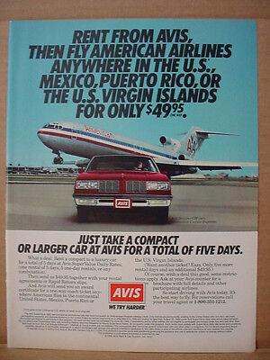 1985 Avis Car Rental American Airlines Oldsmobile Vintage Print Ad 114