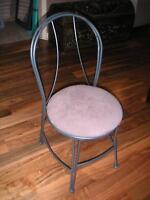 single chair, metal, taupe leather seat