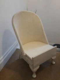 Cream painted rattan chair