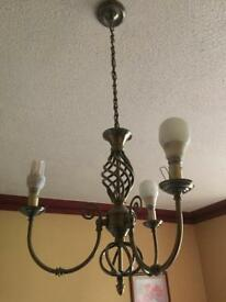 Light fitting with 3 arms brass effect metal