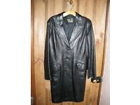 Ladies Black Leather Coat.