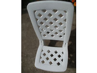 Childs white sturdy plastic high back - low down garden chair