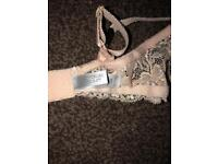 Brand new Victoria secret women's blue netting lingerie bra set
