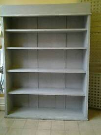 Solid shabby chic shelf unit bookcase finished in grey chalk paint & waxed