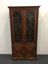Vintage Wooden Glass Fronted Locking Bookcase Shelving Unit