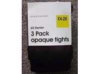 NEW Debenhams 60 Denier 3 pack Opaque BROWN tights. Small Size. Ideal for Baines School. £2