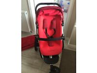 Red Quinny pushchair and carrycot