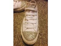 Glittery White and Silver Size 4 Converse