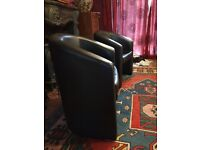 Black leather Look Reception Chairs