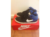 Used Nike Air High Tops Trainers Black/Blue And White Size UK 7 RRP £55