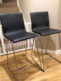 Volfgang Ikea Black Leather Breakfast Bar Chairs stools