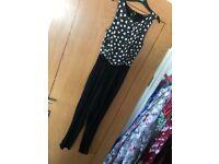 Girls black n white jumpsuit 915 Age 11 Unworn