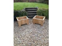 Solid oak garden planters or log boxes