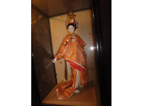 fantastic large Japanese doll Geisha Girl in a glass cabinet