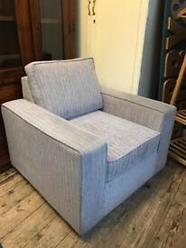 Pair of large pale blue fabric Armchairs