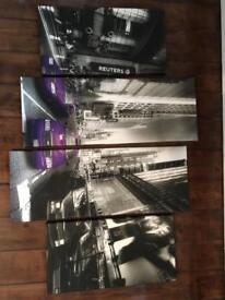 Canvas print. New York. Black and White. Purple