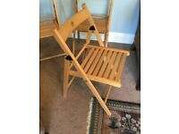 3 IKEA Solid Wood Folding Chairs
