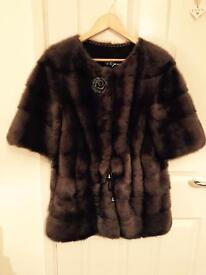 Luxury Russian 100% real fur dark brown mink coat jacket ZARA YSL SAGA LV