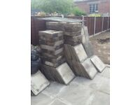 Used Paving slabs ( over 80) and concrete bricks and edging slabs