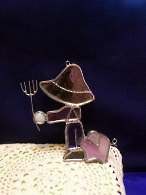 """SUNBONNET BOY/ FARMER with pig  -Stained Glass  -SunCatcher - 3 1/2"""" by 5"""""""